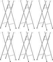 vidaXL Pieds de table pliable 6pcs Argenté