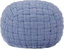 vidaXL Pouf Design tressé Bleu 50x35 cm Coton
