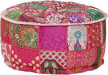vidaXL Pouf rond en coton en patchwork fait à la