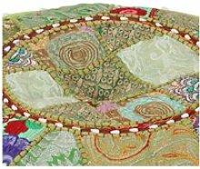 Vidaxl pouf rond en coton fait à la main 40 x 20