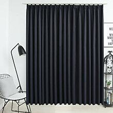 vidaXL Rideau occultant avec crochets Noir 290x245