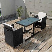 vidaXL Salon de jardin encastrable 3pcs et coussin