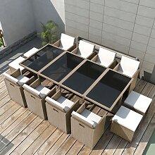 vidaXL Salon de jardin encastrable avec coussins