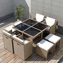vidaXL Salon de jardin encastrable avec coussins 9