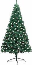 vidaXL Sapin de Noël artificiel moitié LED et