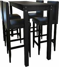 vidaXL Set de 1 table de bar et 4 tabourets noir