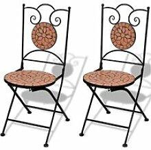 Vidaxl set de 2 chaises mosaïque en terre cuite
