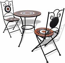 vidaXL Set de Bistro mosaïqué Table et 2 chaises