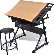 vidaXL Table à dessin inclinable 2 tiroirs et