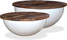 vidaXL Table basse 2 pcs Bois de récupération
