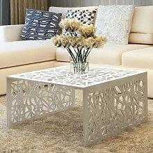 vidaXL Table basse argentée Design géométrique