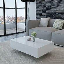 VidaXL – Table basse blanche haute brillance,