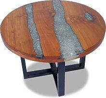 vidaXL Table basse Teck Résine 60 cm