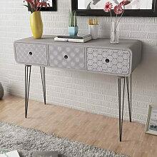 vidaXL Table console avec 3 tiroirs Gris
