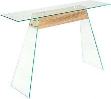 vidaXL Table Console MDF et verre 120 x 30 x 76 cm