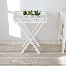 vidaXL Table d'appoint avec plateau Blanc