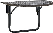 vidaXL Table de balcon Marron 60x60x50 cm Résine