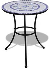 vidaXL Table de bistro Bleu et blanc 60 cm