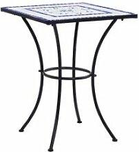 vidaXL Table de bistro mosaïque Bleu et blanc 60
