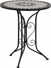vidaXL Table de bistro mosaïque Gris 61 cm