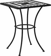 vidaXL Table de bistro mosaïque Noir et blanc 60
