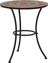 vidaXL Table de bistro mosaïque Orange/gris 60 cm