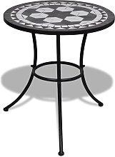 vidaXL Table de bistro Noir et blanc 60 cm