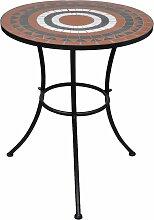 vidaXL Table de bistro Terre cuite et blanc 60 cm