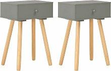 vidaXL Table de chevet 2 pcs Gris Pin massif