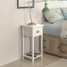 vidaXL Table de chevet avec 1 tiroir Blanc