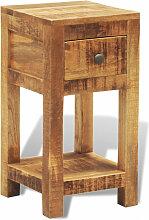 vidaXL Table de chevet avec 1 tiroir Bois massif