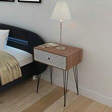 vidaXL Table de chevet avec 1 tiroir rectangulaire