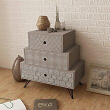 vidaXL Table de chevet avec 3 tiroirs Gris et