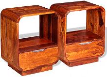vidaXL Table de chevet avec tiroir 2 pcs Bois de