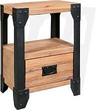 vidaXL Table de chevet Bois d'acacia Acier 40