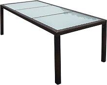 vidaXL Table de jardin 190x90x75 cm Marron Résine