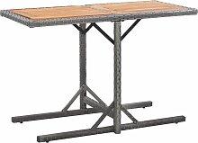 vidaXL Table de jardin Anthracite Résine tressée