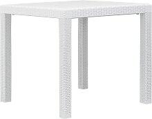 vidaXL Table de jardin Blanc 79x79x72 cm Plastique