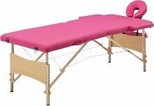 Vidaxl - Table de massage pliable 2 zones Bois Rose