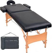 vidaXL Table de massage pliable à 2 zones 10 cm