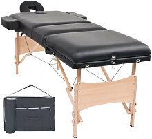 vidaXL Table de massage pliable à 3 zones 10 cm