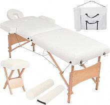 vidaXL Table de massage pliable et tabouret 10 cm
