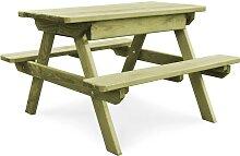 vidaXL Table de pique-nique et bancs 90x90x58 cm