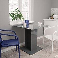 vidaXL Table de salle à manger Gris brillant