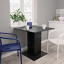vidaXL Table de salle à manger Noir 80 x 80 x 75