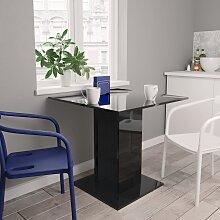 vidaXL Table de salle à manger Noir brillant