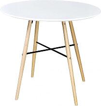 vidaXL Table de salle à manger ronde MDF Blanc
