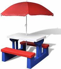vidaXL Table et bancs de pique-nique avec parasol