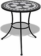 vidaXL Table Mosaïque Noir/Blanc Table