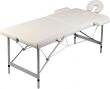 vidaXL Table pliable de massage Blanc crème 2